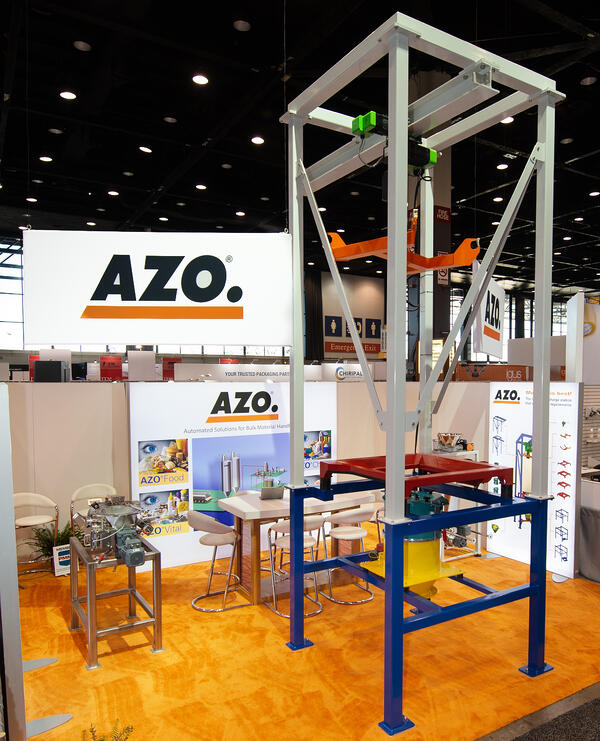 AZO booth at PackExpo 18 with modular color coded bulk bag unloader-2