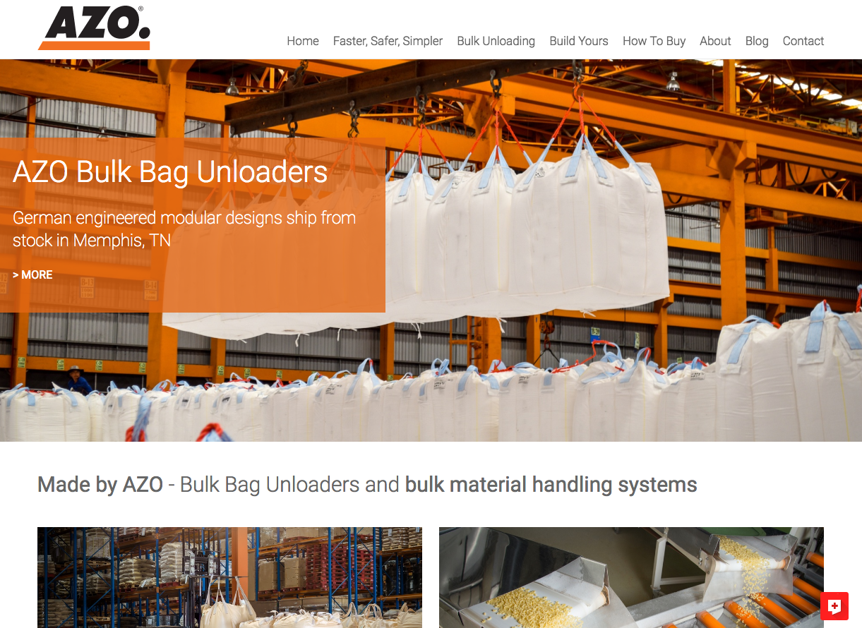 AZO Inc bulk bag unloading resource website